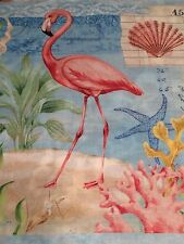"""Fabric Flamingo with Flowers 11.5"""" Square on Cotton"""