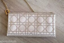 Auth Christian Dior Beige Cannage Quilted Satin Strass Pochette Mini Evening Bag