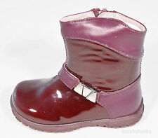 Primigi Girls Heath Plum Patent Leather Zip Boots UK 5.5 EU 22 US 6 RRP £46.00