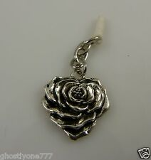 silvertone rose flower cute  cell phone or for  Ipad charm ear cap dust plug