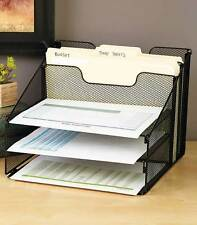 Black Mesh Desktop File Organizer w/ 5 Compartments Office Supply Storage Holder