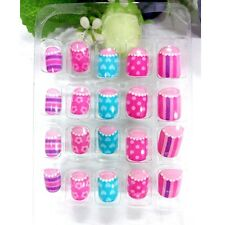 Cute Girls Pink Stripe Press On Nails Full Cover Finger False Nails Kids 20pcs