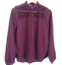 Abercrombie & Fitch Blouse Shirt Top M Burgundy Red Floral Lace Long Sleeves New