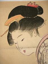 ANTIQUE JAPANESE WOODBLOCK-GEISHA $ FUGU/BLOWFISH-KABUKI-UKIYOE-MEIJI