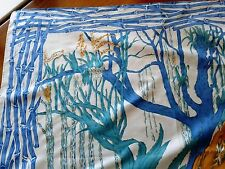 VTG Pure Thai Silk 34.5x36.5 Large White/Blue/Yellow Scarf Foulard ~ MINT EUC