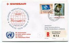 FFC 1972 Swissair Special Flight Geneva New York REGISTERED 25 Anniversaire