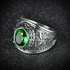 """HUCHE Size 10 """"US Airforce"""" Green Sapphire Emerald Mens Steel Silver Tone Rings"""