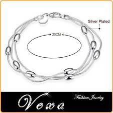 New 925 Sterling Silver Charm Bracelet Bangle Ladies Womens Fashion Jewelry BS06