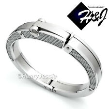 MEN Stainless Steel 11mm Silver Carbon Fiber Stripe Bangle/Handcuff Bracelet*B67