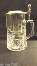 CLEAR ETCHED GLASS STEIN WITH PEWTER LID BEER STEIN - W. GERMAN OLD SPICE