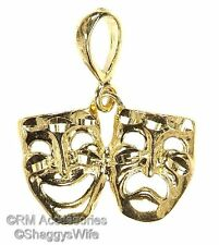 Comedy & Tragedy Drama Masks Charm Pendant EP 24k Gold Plated