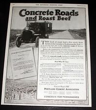 1919 OLD MAGAZINE PRINT AD, PORTLAND CEMENT ASSC, CONCRETE ROADS AND ROAST BEEF!