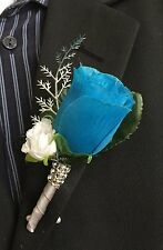 Boutonniere - Malibu/Turquoise Rosebud and Mini White Rose with Silver Accents