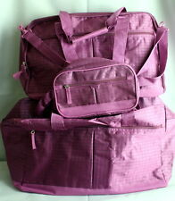 "Travel Bag Set from Women Within 3-Pc Purple Check-19"" x 13"" x 8.25"""""