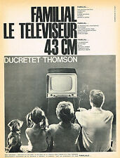 PUBLICITE ADVERTISING 025  1960  DUCRETET-THOMSON téléviseur familial
