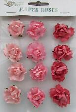 Adhesive Paper Roses Flowers Shades of Pink Perfect for Card Making Scrabbooking