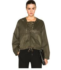 NWT Helmut Lang Distressed Resin Lace Up Front Jacket M