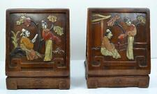 antique Chinese Inlaid bookends hardwood /metal based marked CHINA colour detail