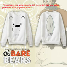 Anime We Bare Bears Ice Bear Hoodie Coat Sweatshirt Cosplay Costume Long Sleeve
