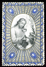 ANTIQUE RELIEF HOLY CARD OF COMMUNION WITH JESUS