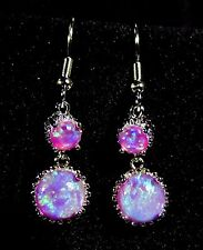 "Sterling 925 Silver SF Purple PINK Lab Fire Opal 8mm & 6mm Cabochon 1 1/2"" Drop"