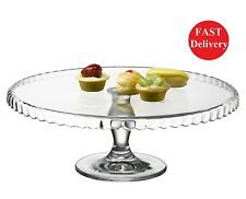 Patisserie Round Clear Glass Cake Display Base Stand Vintage Wedding Kitchen