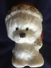 Vintage Christmas Novelty Candle  Dog Santa Hat Pet Lover Decoration #1087