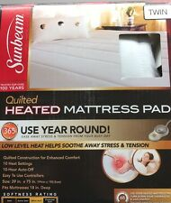 SUNBEAM QUILTED HEATED MATTRESS PAD TWIN SIZED NEW 10 HEAT SETTINGS MACHINE WASH