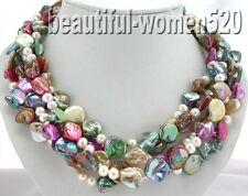 X0240 5row square shell baroque pearl necklace