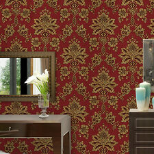 Luxury Vintage Classic Gold Textured/Embossed Damask on Red Roll Vinyl Wallpaper