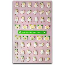 CUTE SHEEP STICKERS Tiny Puffy Sticker Sheet Lamb Kid Craft Scrapbook Animal