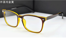 New Eyeglass Full frames Vintage Glasses Eyewear Spectacle Brown+gold Clear lens