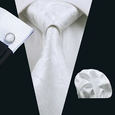 C-393 Men tie set Silk Tie White Paisley ties Hanky Cufflinks neckwear wedding