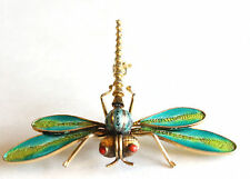 Rare Antique Chinese Enamel & Gilt Silver Fillagree Dragonfly Brooch