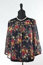 Nordstrom Rack Women's Blouse Tops Floral Pleated Front 3/4 Sleeves Fits 8-12