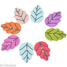 50PCs Wooden Buttons Leaf Shape Randomly Mixed 2-hole Sewing Scrapbooking