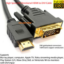 PREMIUM GOLD 1080P HDMI TO DVI CABLE DVI TO HDMI LEAD SMART HD TV HDTV 3D 10FT