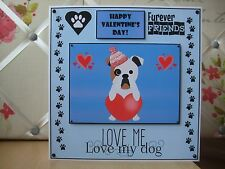 Handmade Bulldog Valentine Card Valentine's Day English Happy Blue Dog Puppy