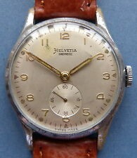 Nice Large HELVETIA 15J (Cal 82C) CP/SS mens watch - 1950's + tan leather strap