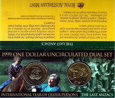 1999 Australian Anzacs & Older Persons $1 Dual Uncirculated Coin Set