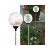 Garden Solar Lights 3pc Set Lawn Outdoor Stake Lamp Globe Glass Yard Multicolor