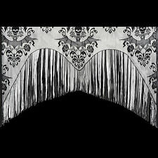 Gothic Black Lace SKULL BAT CURTAIN VALANCE SHAWL Halloween Haunted House Decor