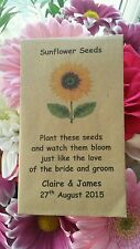 10 Personalised Sunflower Seed Envelopes Wedding Favours Rustic