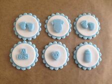 12 Edible Sugarpaste BABY Cupcake Toppers- BOYS BABY SHOWER OR CHRISTENING