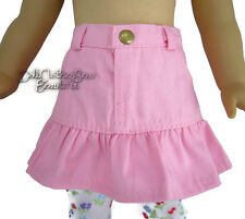 """Pink Denim Skirt with Ruffle made for 18"""" American Girl Doll Clothes"""