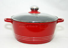 24CM DIE CAST NON STICK DEEP INDUCTION CASSEROLE POT COOKWARE GLASS LID RED