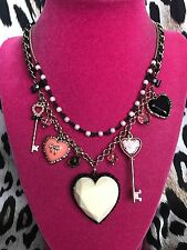 Betsey Johnson Vintage Hey Valentine Key Lucite Puffy Heart Pearl Necklace RARE