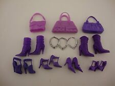 All Purple Barbie Accessories- 3 Purses, 4 Pairs of Shoes, 2 Boots, 3 Necklaces