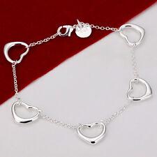 """Fashion 925Sterling Silver Sweet Heart Women Girls Chain Bracelet 8"""" FH213"""