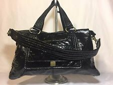 Beautiful Kooba Black Patent Leather Satchel Shoulder Carry-all Purse Bag EUC